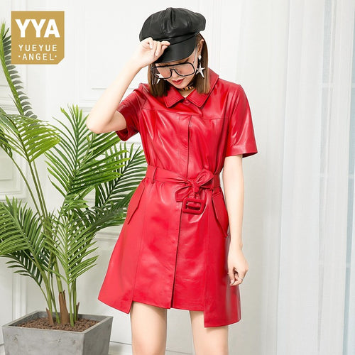Brand Summer Autumn Women Red Sheepskin Dress Party Office Lady Short Sleeve Slim Sashes Irregular Leather Dresses Female Luxury