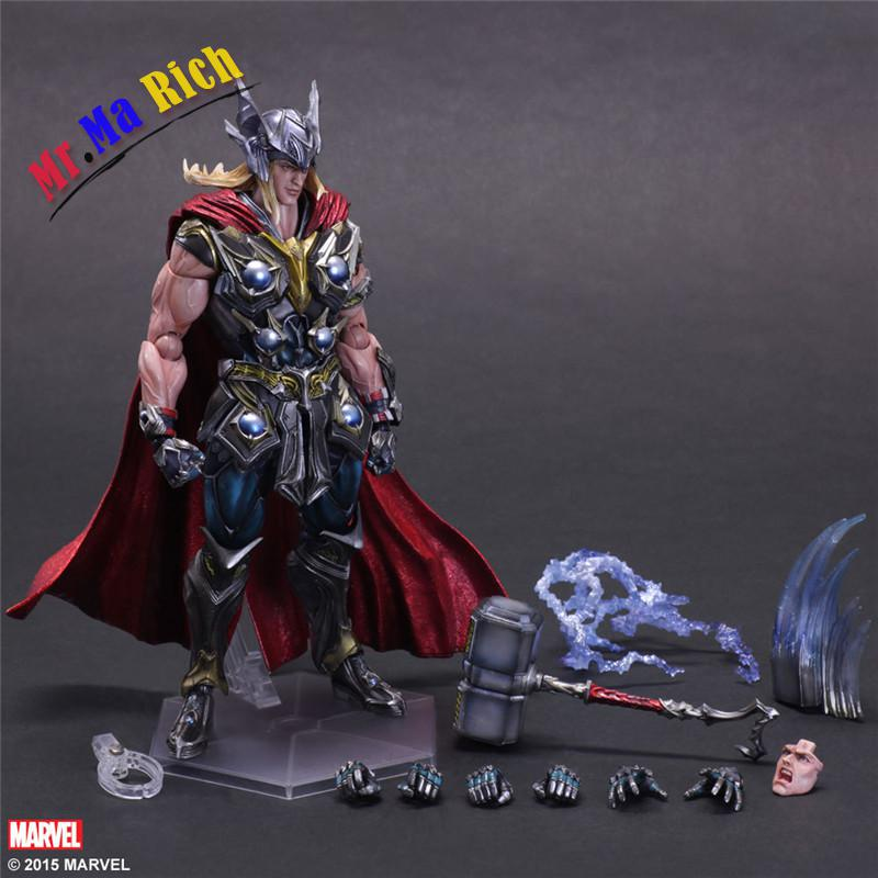 Play Arts Kai Thor Juguetes Pvc Action Figure Thor Hammer Brinquedos Collectible Model Kids Toys Doll Figurine 27cm