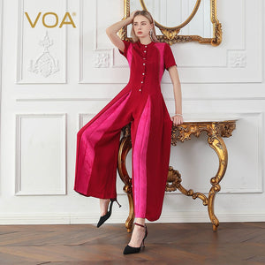 329105bc87f VOA 2018 Silk Summer Short Sleeve Solid Color Stitching Pleated Long  Section Mid-waist Ropa Mujer Verano Red Jumpsuit Women K681
