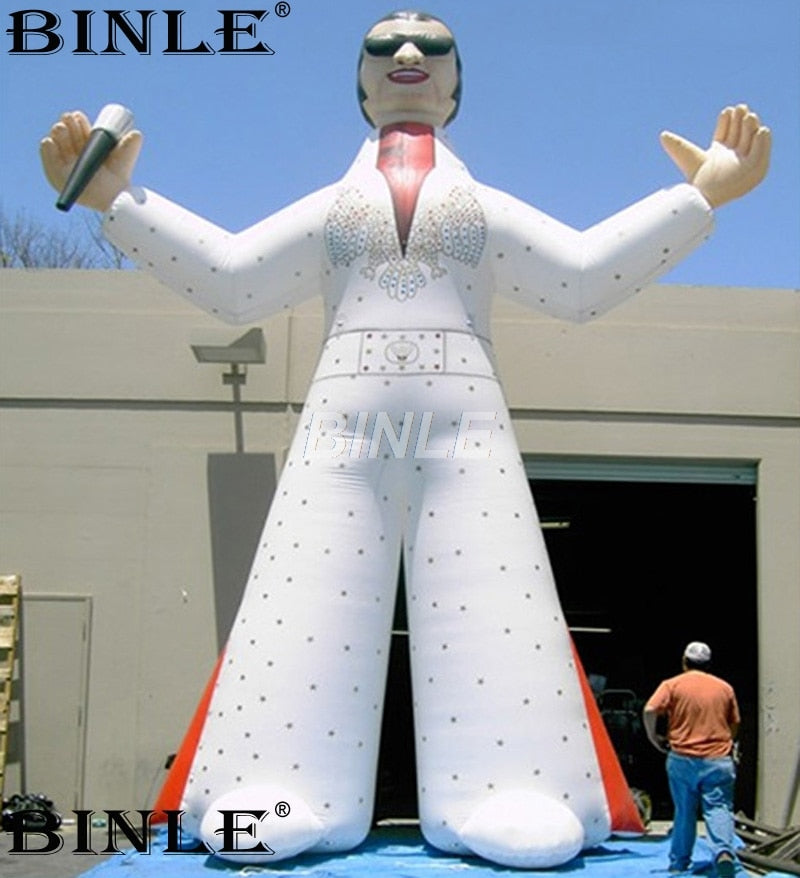 Hot sale giant inflatable rock star standing singer inflatable elvis statue with microphone for music event decoration