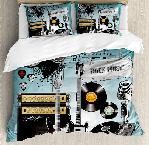 Rock Music Duvet Cover Set Concert Pattern Guitars and Records with Giant Speakers Ornamental Arrangement 4 Piece Bedding Set