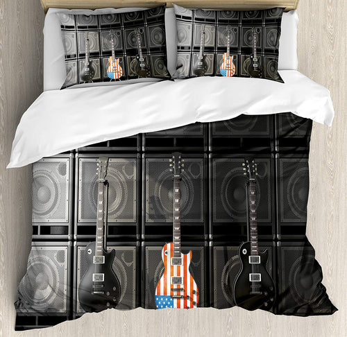 American Flag Duvet Cover Set Black and Us Bass Guitar Electronic Rock Music Theme Digital Graphic Work Decor 3/4pcs Bedding Set