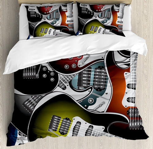 Popstar Party Duvet Cover Set Queen Size Pile of Graphic Colorful Electric Guitars Rock Music Stringed Instruments Multicolor