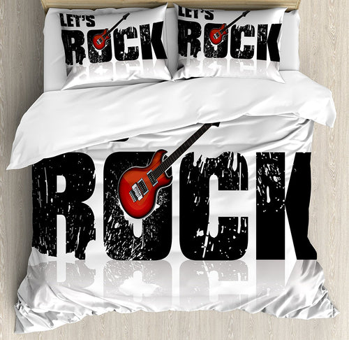 Guitar Duvet Cover Set  Size Let's Rock Text with Grunge Loo Color Splashed Letters Music Fun Concert