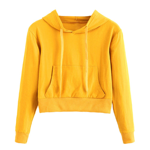 Fashion women autumn hoodies Womens Long Sleeve Solid Color Pocket Round Neck Hooded Sweatshirt Blouse Tops female tracksuits