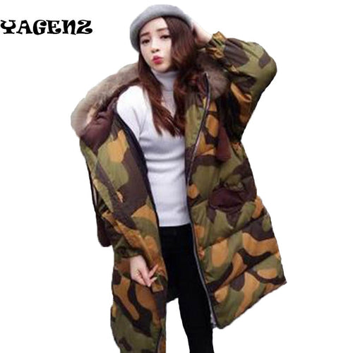 Fashion really fox fur down fur Ms hooded warm thick Camouflage women's winter hoody 2019 long cotton coat