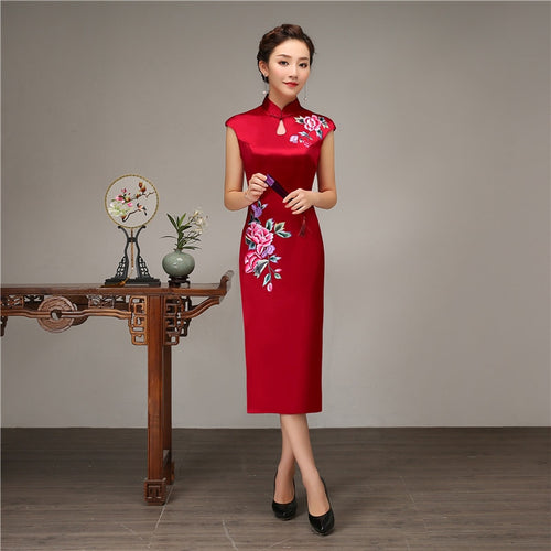100% Silk Slim Qipao Vintage Red Stage Show Dress Gown Chinese Style Women Embroidery Flower Cheongsam Mandarin Collar Vestidos