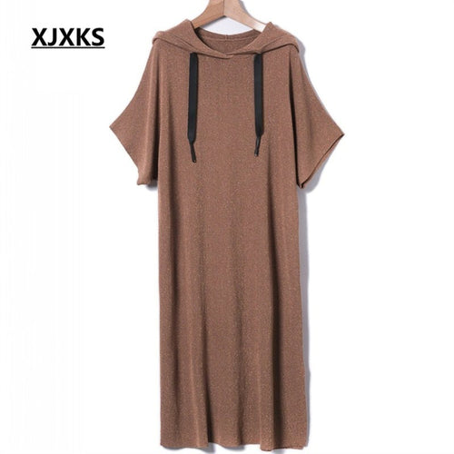 XJXKS personality streetwear ladies clothing hooded women dresses casual batwing sleeve split hem women's dress