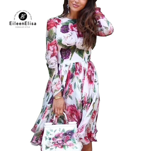 Summer Autumn Dress 2018 Long Sleeve Floral Printed Dress 2018 New Fashion Women Autumn