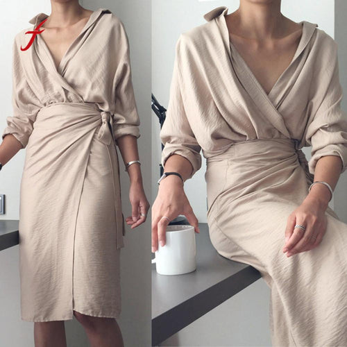 Dress Womens Casual Solid V-Neck Irregular Linen Long Sleeve Bandage elegant Dress Slim soft dresses summer 2019 new arrival
