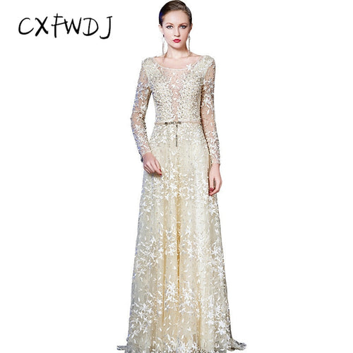 High Quality Apricot Color Chiffon Women's Evening Wear Dresses Show Honorable Embroidered Fabric Prom Party Model Real Shot