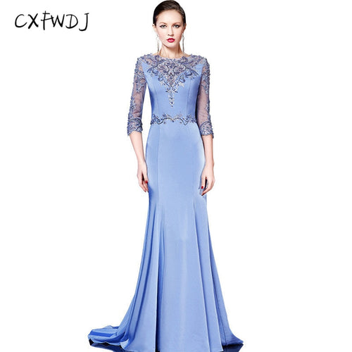 2018 New Fashion Three Quarter Fish Tail Women's Evening Wear Dresses Prom Party Gorgeous Noble Woman Blue Satin Fabric Handmade
