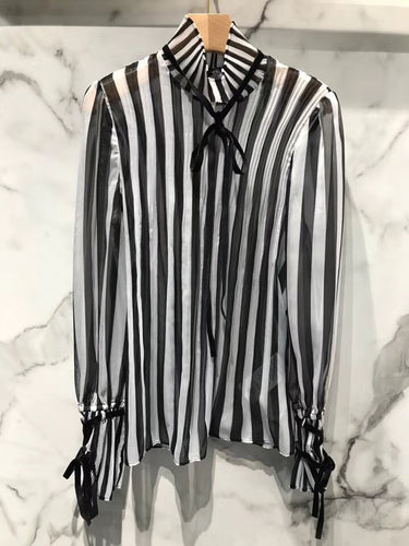 2018 Autumn New Arrival Women Shirts Lace-Up Stand Collar Flare Sleeve Striped Silk Pullover Shirt Free Shipping