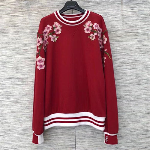 Red Sweatshirt Women Autumn Casual O-neck Lady Long Sleeve Sweatshirt 2018 Casual Embroidery Sweatshirt