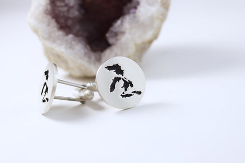 Dashing Round Oxidized Cufflinks Featuring The Great Lakes!