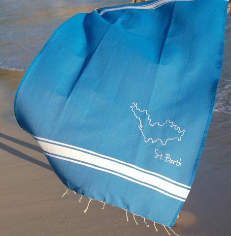 St. Barth Flat Fouta in Ocean, $54
