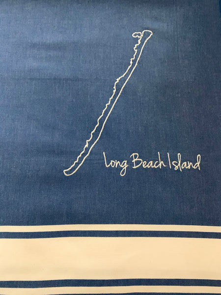 Long Beach Island Embroidered Flat Bath & Beach Foutas