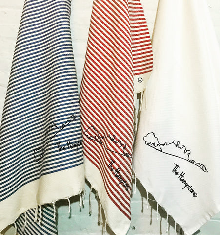 Hamptons Honeycomb Foutas in Blue Stripe, Red Stripe & White