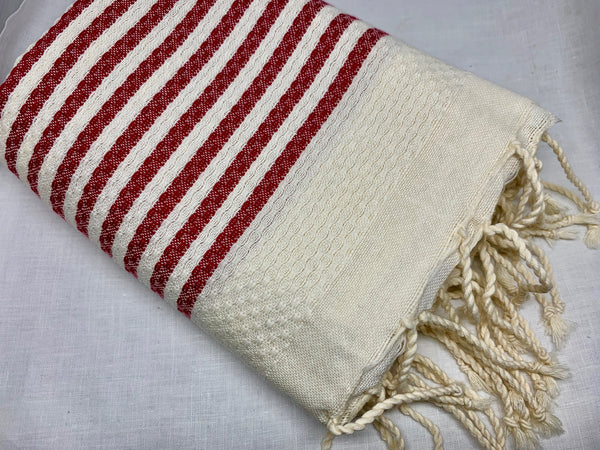 Red Stripe Honeycomb Fouta