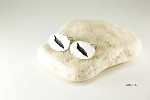 Large Oval Oxidized Cufflinks in Sterling Silver with Matte Finish and Aruba border.
