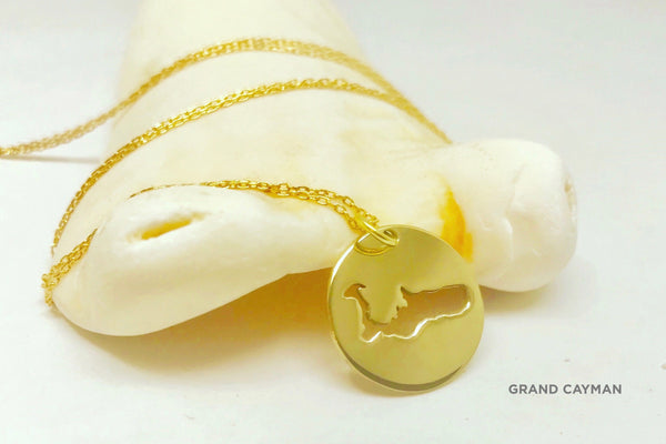 Small brass Grand Cayman Medallion necklace with polished finish