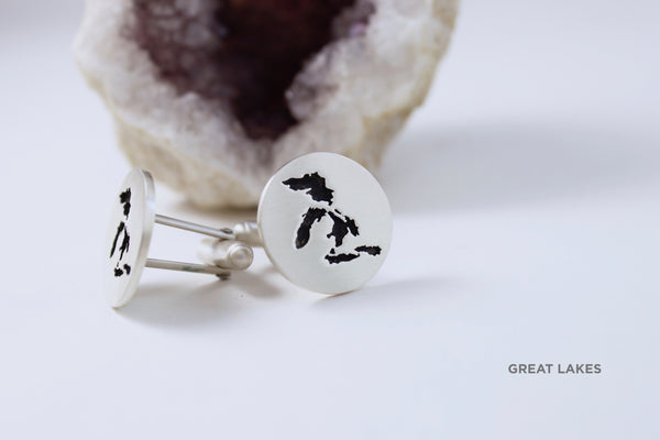 Large (20mm) Round Cufflinks in Sterling Silver with Oxidized Center, Matte Finish and The Great Lakes border