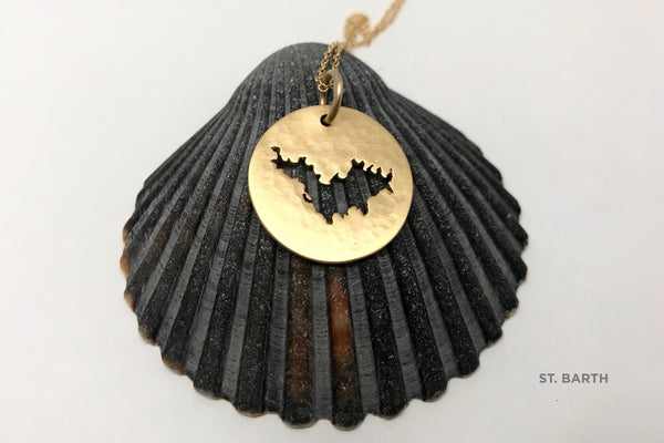 18K Gold St. Barth Large Hammered Medallion Necklace