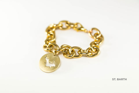 "Small oval link bracelet (7.5"" long) shown in brass with St. Barth border with matte finish."