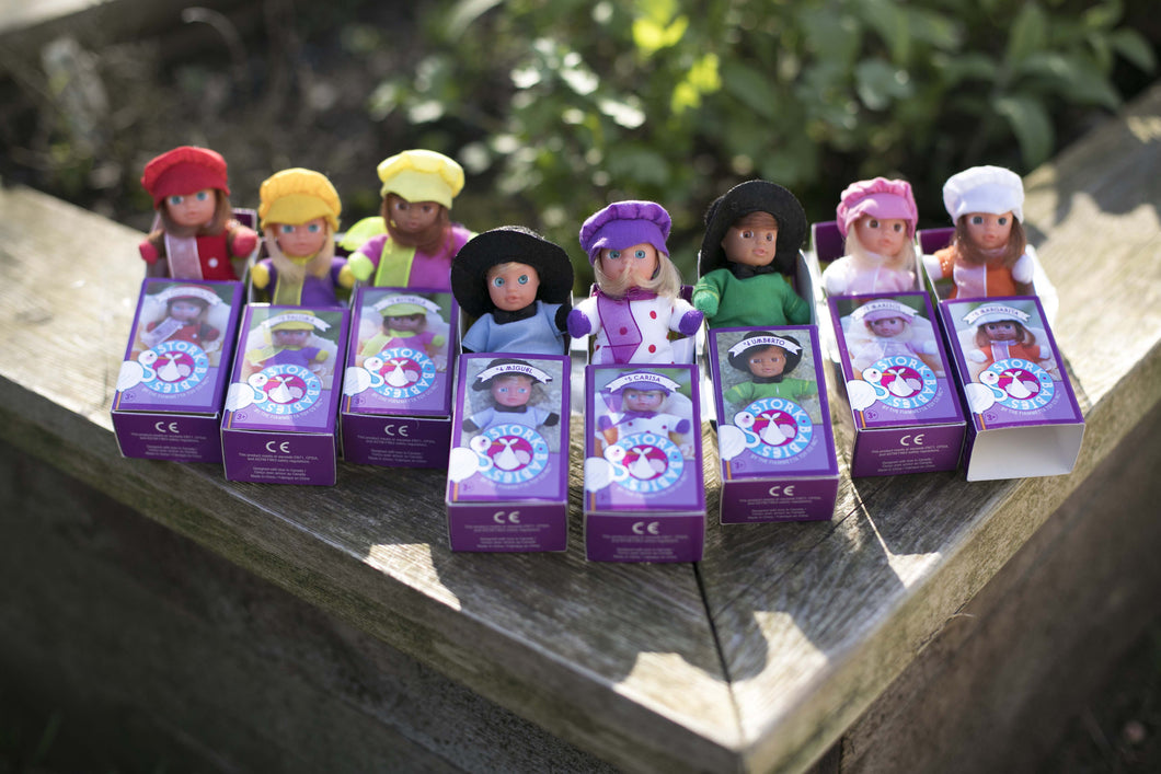 Cute Baby Matchbox Dolls for Girls – 8 Pieces Set – The Spanish Collection - Stork Babies - beautiful handcrafted dolls