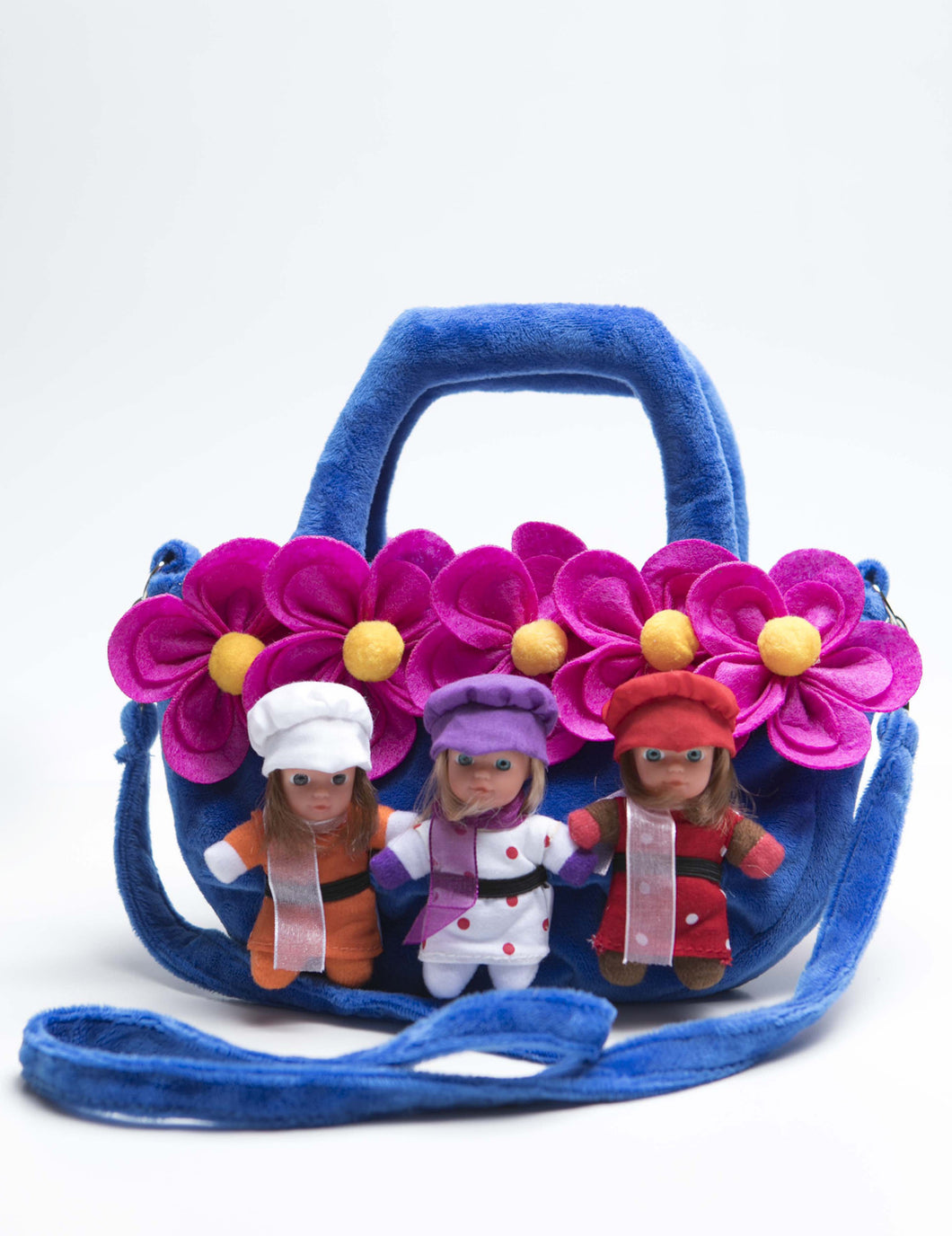 Stork Babies - Flower Purse (HOLDS DOLLS) -children's purse with strap - Stork Babies - beautiful handcrafted dolls