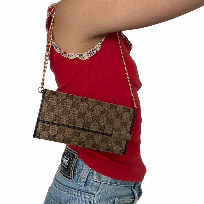 Reworked GUCCI Monogram Shoulder Purse