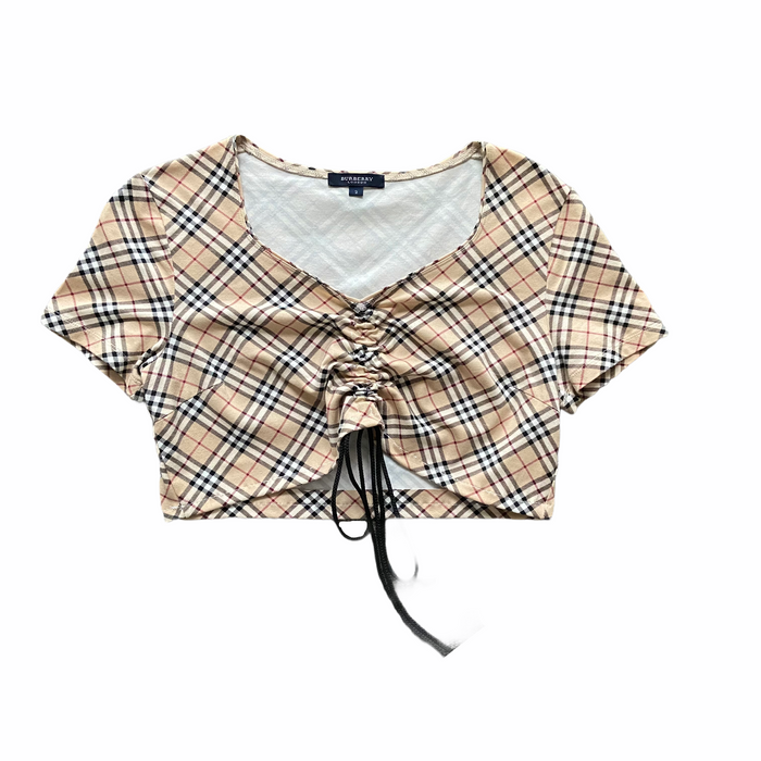 Reworked Burberry Nova Check Ruche Top