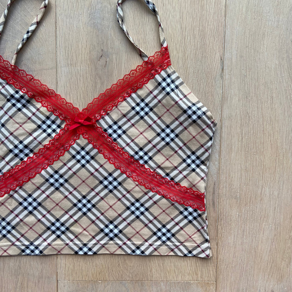Reworked Burberry Nova Check Lace Cami Tops