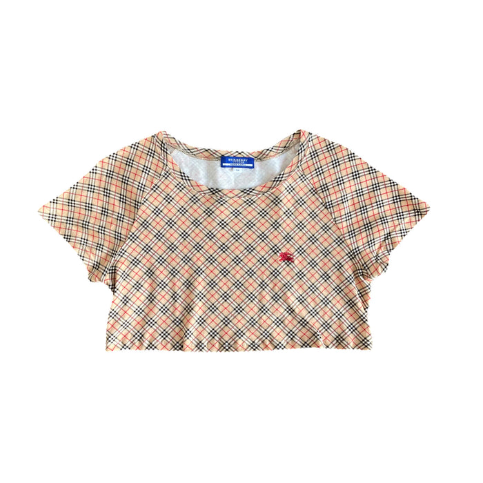 Reworked Burberry Nova Check Crop Top