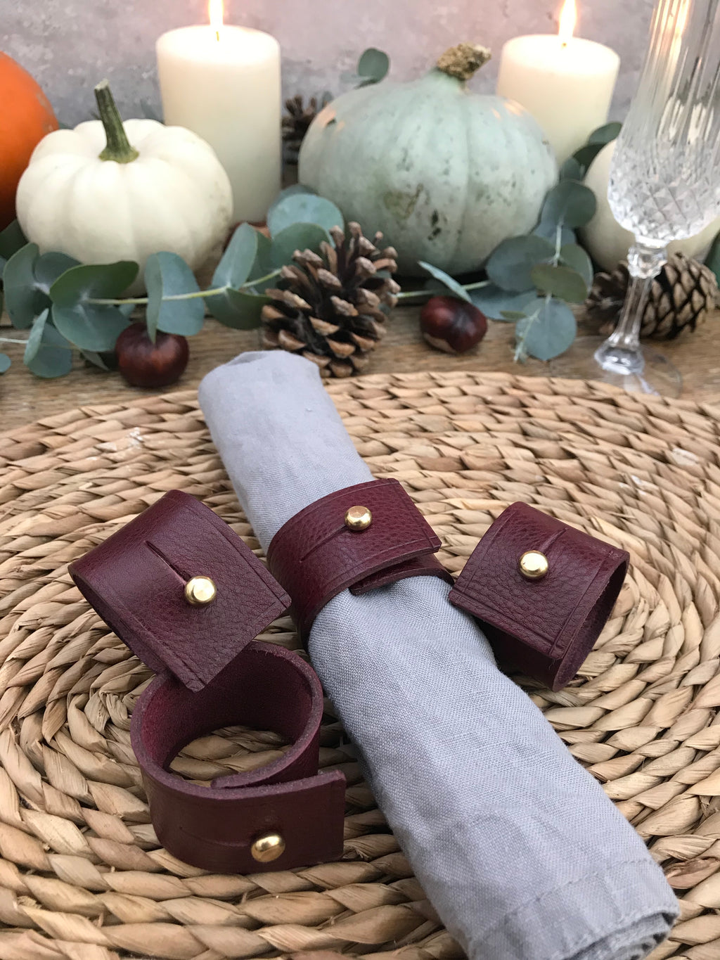 Napkin Rings - Burgundy Tumble leather