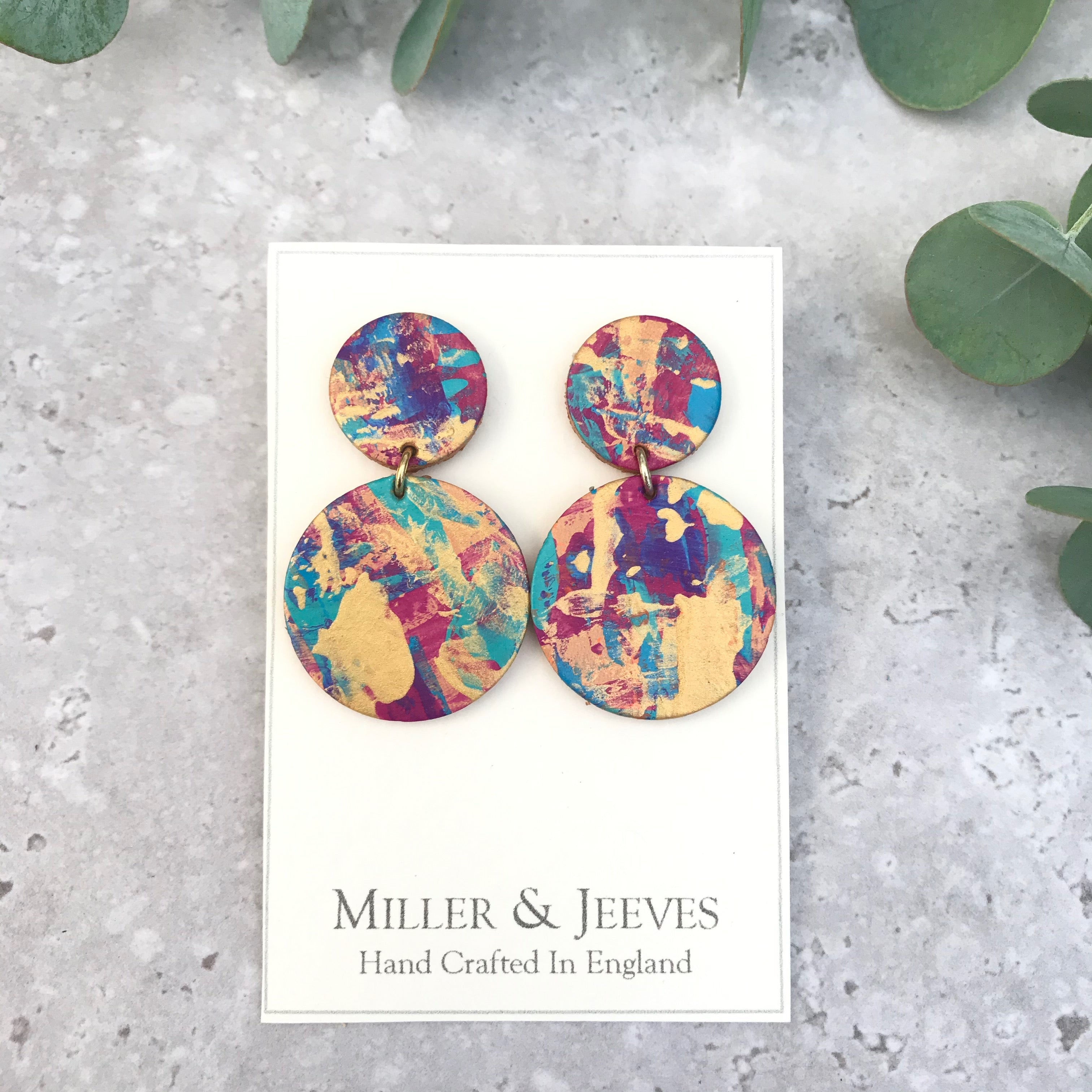 Double Disc Hand Painted Earrings with Stud Fastening- gold/blue/turquoise/pink/purple