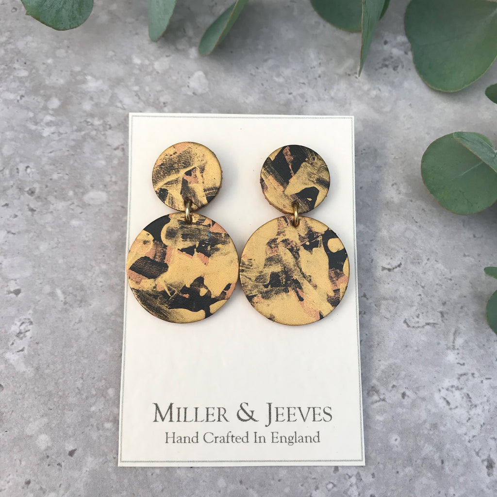 Double Disc Hand Painted Earrings with Stud Fastening- gold/black