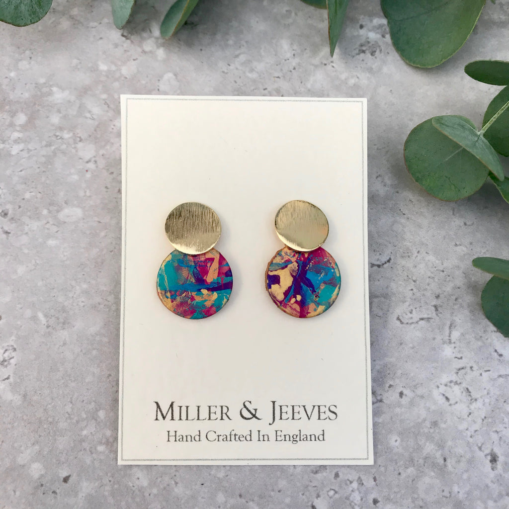 Brass Disc and Hand Painted Small Leather Disc Earrings with Stud Fastening- turquoise/purple/pink/gold/blue