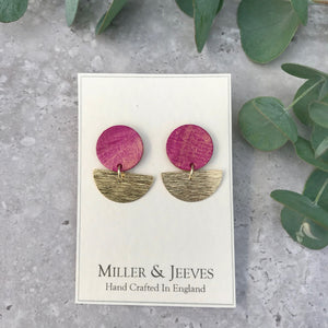 Disc and Half Moon Hand Painted Earrings with Stud Fastening- gold/pink
