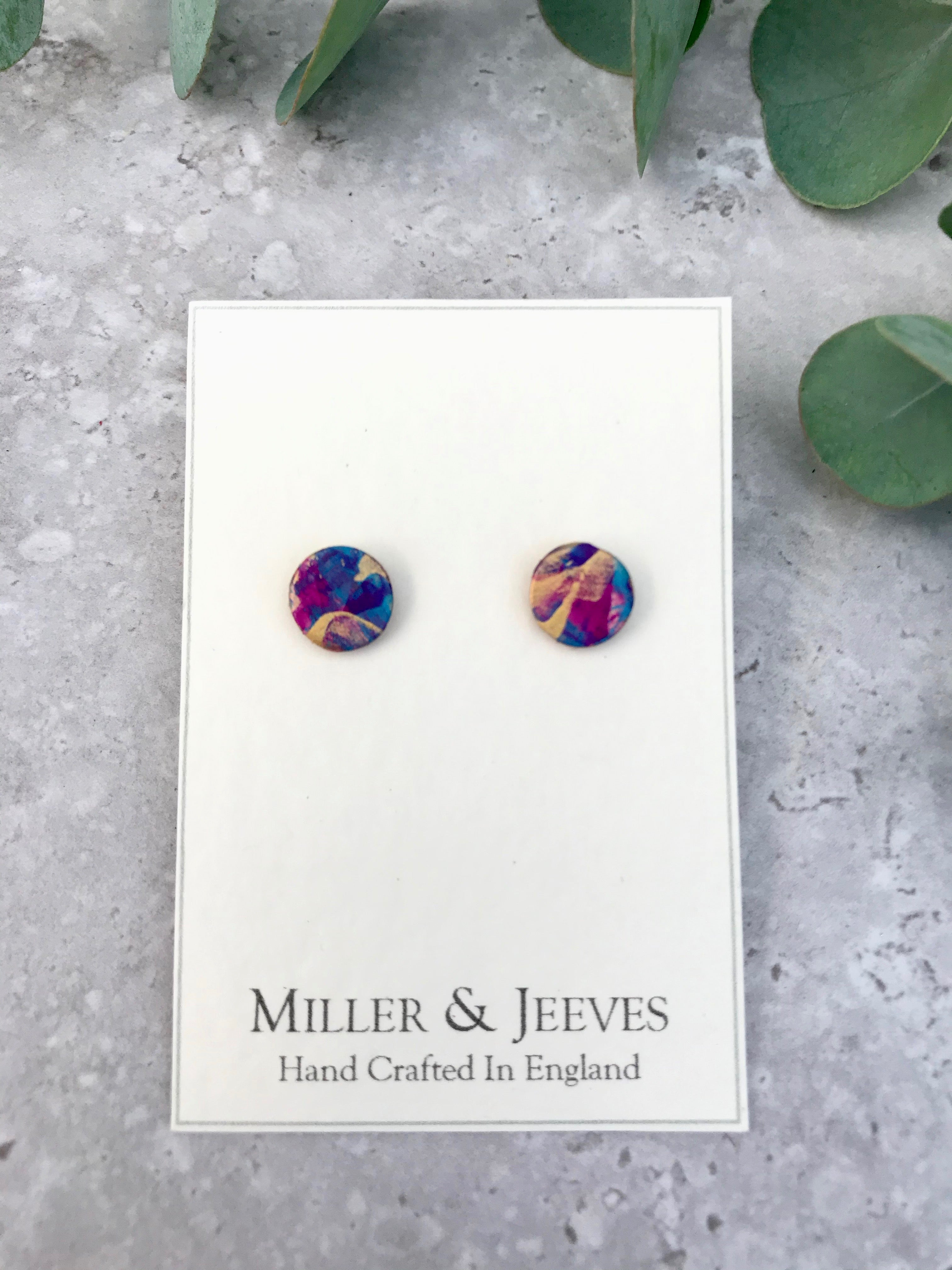 Hand-painted Leather Earrings with Stud Fastening - pink/purple/blue/gold (3/8a1)