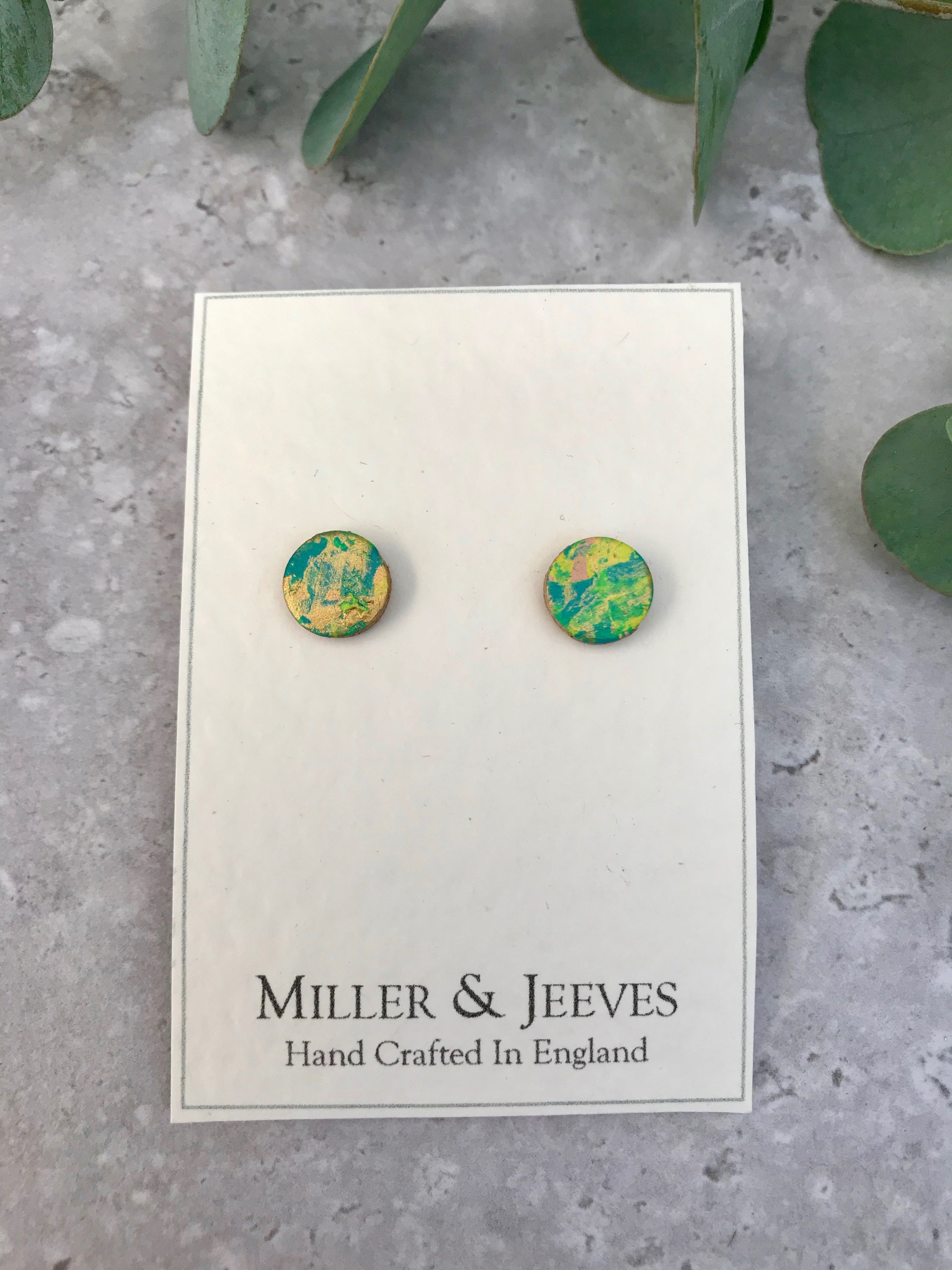 Hand-painted Leather Earrings with Stud Fastening - gold/blue/green/neon yellow (3/8a5)