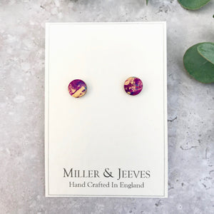 Hand-painted Leather Earrings with Stud Fastening -pink/purple/gold/hint of blue (5/16a8)