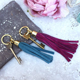 Swinbrook Tassel Keyring - Royal Blue Suede