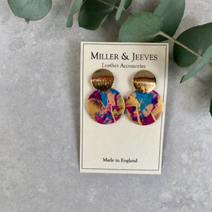 Gold Plated Disc and Hand Painted Large Leather Disc Earrings with Stud Fastening- gold/pink/purple/blue