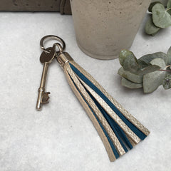 Two-tone Swinbrook Tassel Keyring - Platinum Leather & Teal Suede
