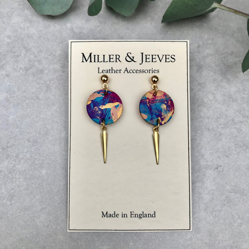 Midi Dagger Stud Earrings - multi colour