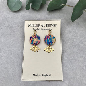 Hand Painted Midi Disc & Sunbeam  Stud Earrings - pink/gold/blue