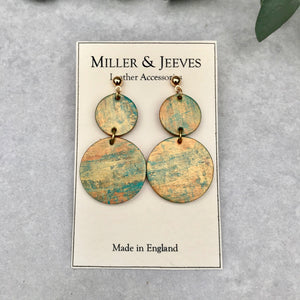Double Disc Hand Painted Earrings- gold/mint