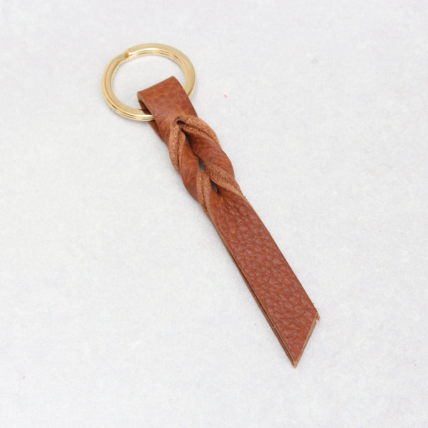 Twist Keyring - Small - Tan Tumblegrain