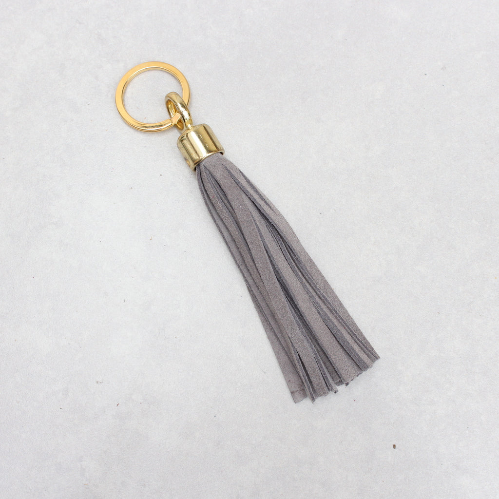 Swinbrook Tassel Keyring - Light Grey Suede